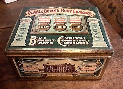 Antique Tin Box Adv Public Benefit Boot Co, Leeds England AAFA