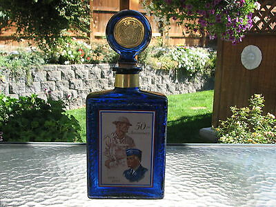 Beautiful Vintage1969 Cobalt Blue American Legion 50th Anniversary Decanter