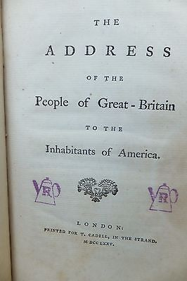 Address of the People of Gr-Britain to Inhabitants of America 1st Ed1775 RARE !