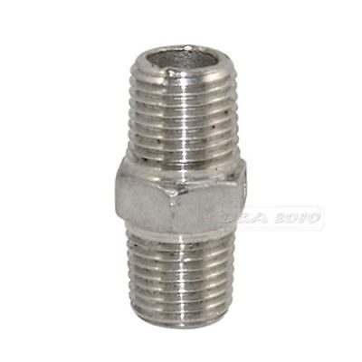 "NPT 1/4"" Male to Male M/M Hex Nipple Threaded Pipe Fittings Steel SS304 megairon"