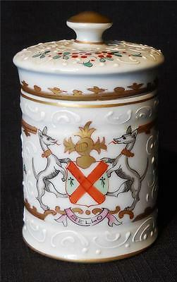 Antique Edme Samson French Porcelain Armorial Lidded Jar Apothecary #2*