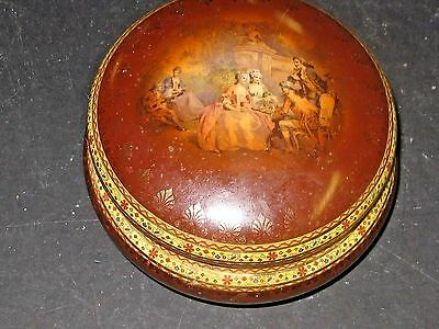 """Antique Gilt Hand Painted Beehive Mark Carlsbad/Bohemian Porcelain Round 6"""" Box"""
