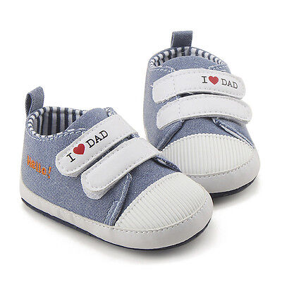 New Baby Boy Gray Soft Sole Pram Shoes Trainers Size Newborn To 18 Months Retro
