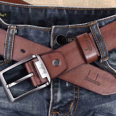 Vintage Men's Leather Jeans Belt Casual Pin Metal Buckle Waist Strap Waistband