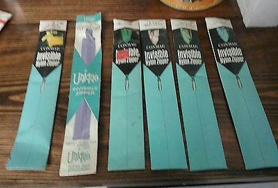"""Lot of 6 ZIPPERS -  1 Unique metal  Invisible & 5 Conmar nylon  Invisible 7-9"""""""