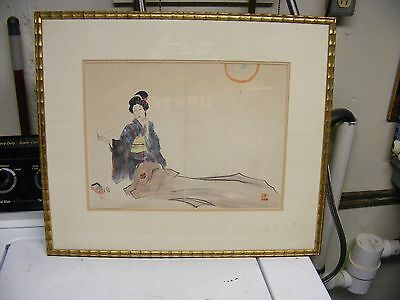 japanese woodblock print signed vintage japanese woodblock  signed