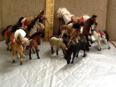 lot of 11 flocked felt toy horses vintage/collectable medium/large/small