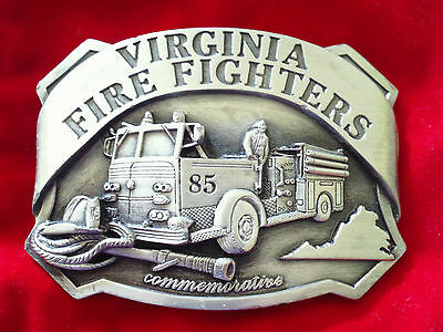 Virginia Fire Fighters Limited Edition Belt Buckle (1985 Commemorative)