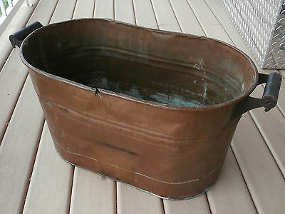 Vintage Copper Boiler Large Rustic Oval Wash Tub with Wood Handles Good Patina!