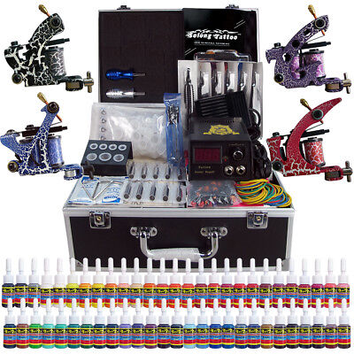 Complete Tattoo Machine Kit 4Guns 54 Colors Ink with Case Set Power Supply TK456