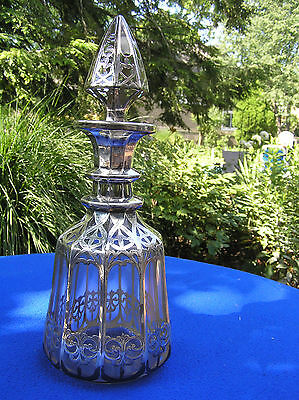 Large Cathedral heavy sterling overlay glass decanter.