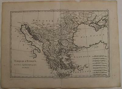 Greece Crete Macedonia Albania Balkans 1788 Bonne Antique Copper Engraved Map