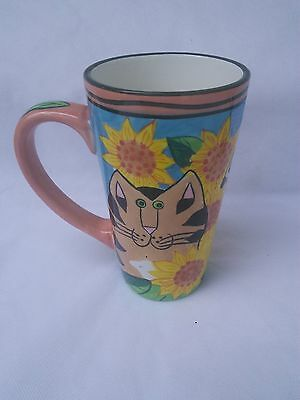 Candace Reiter CATZILLA 20oz Tall Latte Mug w/ Sunflowers and Cats