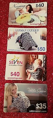Gift Card LOT of 4!  Baby Nursing New Mothers Totals $165!!