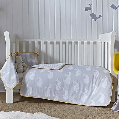 Clair de Lune Whales 2 Piece Cot Bed Bedding Set, New Baby Bedding Essentials