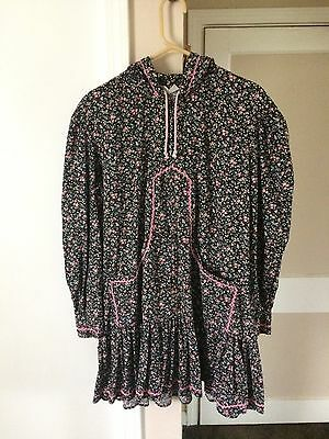 Alaska Native Eskimo Medium Pink Floral Kuspuk Tunic Drawstring Hood Pockets Med