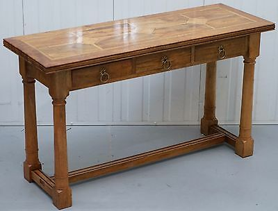Stunning Console Table With Mixed Wood And Marble Inlaid Surface Walnut Oak Teak