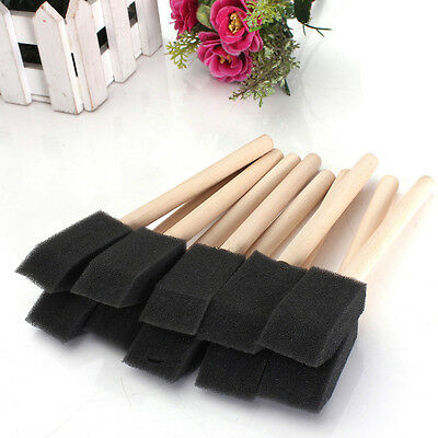 "10x 1""(25mm) Foam Sponge Brushes Wooden Handle Painting Drawing Art Craft P&T"