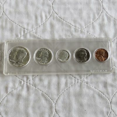 Usa 1964 5 Coin Year Set With Silver In Whitman Capsule