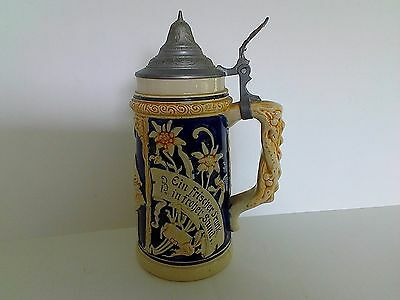 "German beer stein 8.5"" tall with lid"