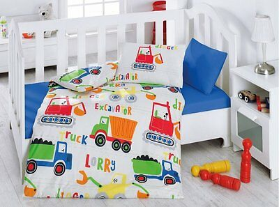 100% Cotton-Worksite Baby Duvet Cover Set-Made in Turkey COMFORTER INCL. 5 PCS
