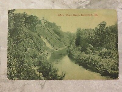 Antique c. 1914 Postcard: White Water River, Richmond, Indiana IN
