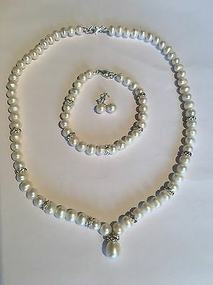 Fresh Water Pearl Set Sterling SilverBridal Wear Bridesmaids Gifts Free Postage