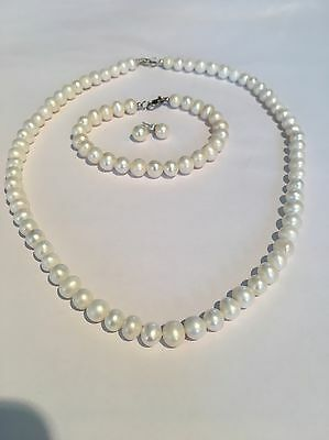 Fresh Water Pearl Set Sterling Silver Bridal Wear Bridesmaids Gifts Free Postage