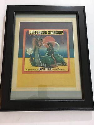 "Jefferson Starship ""Spitfire"" Rare 1976 Original 11X14"" Print Ad In 15X19"" Frame"