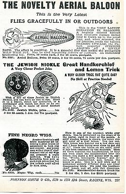 1926 small Print Ad of Aerial Balloon Jewish Nickle & Negro Wig Black Americana