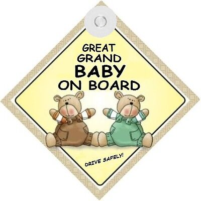 GREAT GRAND BABY ON BOARD! - Two Bears  MADE IN Au - with Suction Cup FREE POST