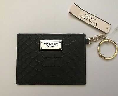 NWT*Victoria's Secret Python Keychain ID wallet Card Holder--BLACK Faux Leather