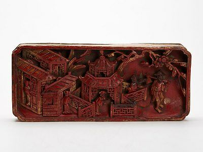 Well Carved Antique Chinese Red Lacquered Wooden Panel 18 C