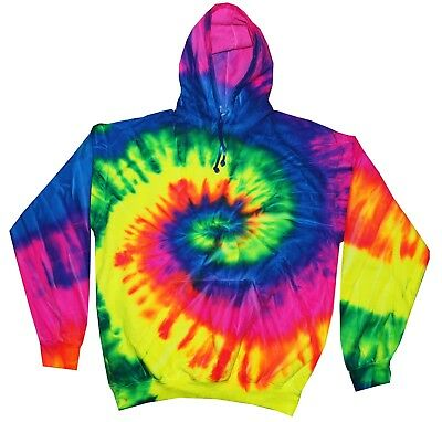 Tie Dye Rainbow Hoodie Adult S to 3XL Long Sleeve with Pockets Colortone