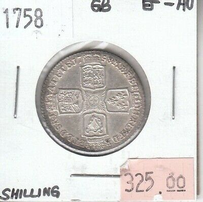 Great Britain Shilling 1758 Silver XF Extra Fine