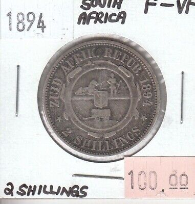 South Africa 2 Shillings 1894 Silver F Fine