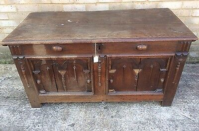 Large Antique 18th Century Solid Oak Coffer Jacobean Style Dsign For Restoration
