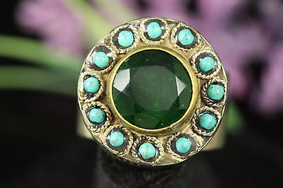 WONDERFUL Near Eastern Antique Emerald Turqouise Ethnic Silver Ring. Size:11