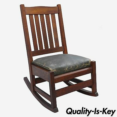Signed L.&J.G. Stickley Mission Oak Youth Nursing Rocking Chair Rocker Slat Back