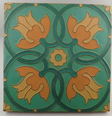 "VAN BRIGGLE TULIP TILE 6"" x 6"" TURQUOISE GREEN BACKGROUND"