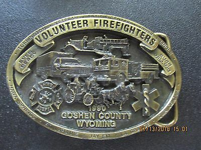 Volunteer Firefighters Limited Edition Buckle 1990 Goshen County Wy