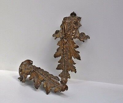 Antique Large pair of French Gilt Bronze Rams Head and Acanthus Leg Decorations