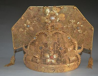 China Ancient Qing Dynasty Royal Queen Hat Phoenix Coronet Gold Bronze Crown