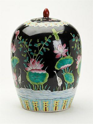 Large Chinese Famille Noir Lidded Jar 20Th C.