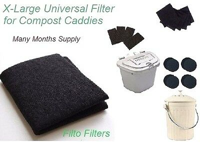 X-Large Activated Charcoal Odour Bin/Caddy Filter Cut Many to Size/Shape & Save!