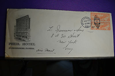 Phiel Hotel St Pe Fla. Envelope1937,  Cachet,dates, And Two Stacked Globe Stamps