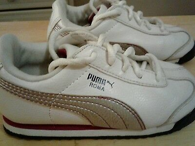 PUMA 'ROMA' GIRLS TODDLER SIZE 9 White/Silver/Purple SNEAKERS GUC