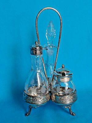 Antique Cruet Set Etched Glass Bottles Tableware Silver Plate Middletown CT