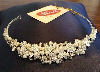 Wedding Party Bridal Headband Tiara Silvertone. Located in USA