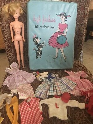 BARBIE LOT w CASE CLOTHES ACCESSORIES And Doll 1960's Vintage